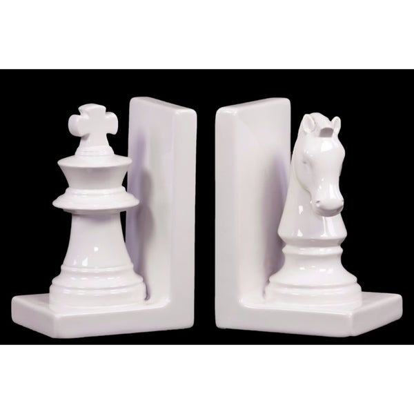 Chess Piece with Knight and Rook Bookend Assortment of 2 - White