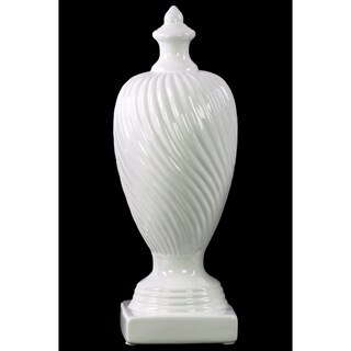 Ceramic Finial With Base- Large- White