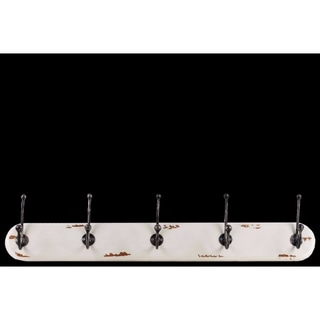 Mesmerizing Wood Wall Hanger with 5 Metal Double Hooks Large - White