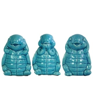 Peaceful Standing Turtle No Evil Figurines - Assortment Of 3 - Blue