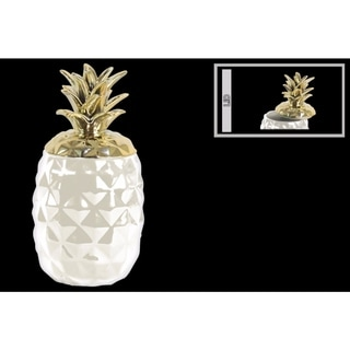 Ceramic Pineapple Canister with Gold Lid- White