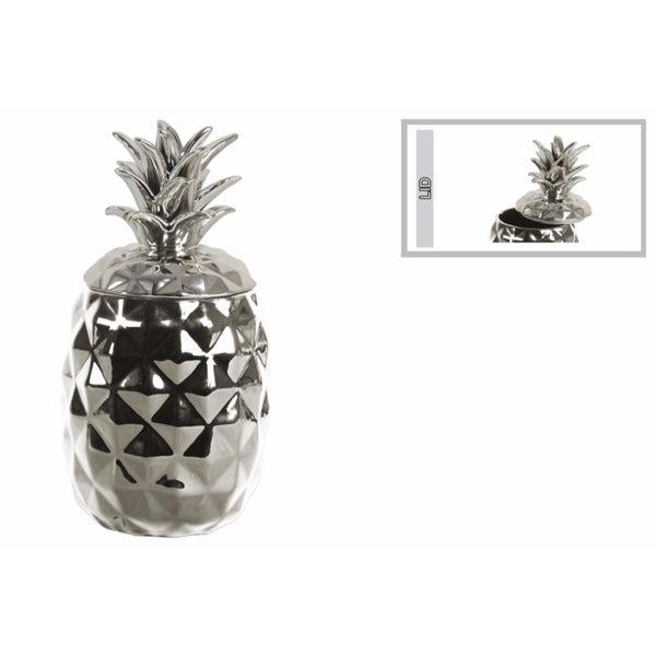 Splendid Ceramic Pineapple Canister- Silver
