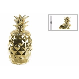 Alluring Ceramic Pineapple Canister- Gold