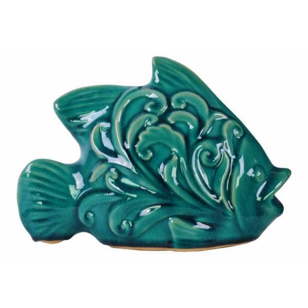 Fish Figurine with Mouth Open - Embossed Swirl Design - Blue