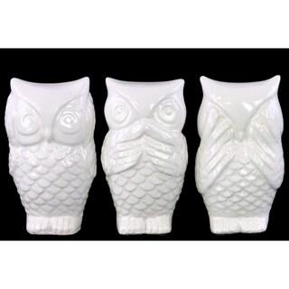 Owl No Evil (Hear/Speak/See) Figurine Assortment of Three - White