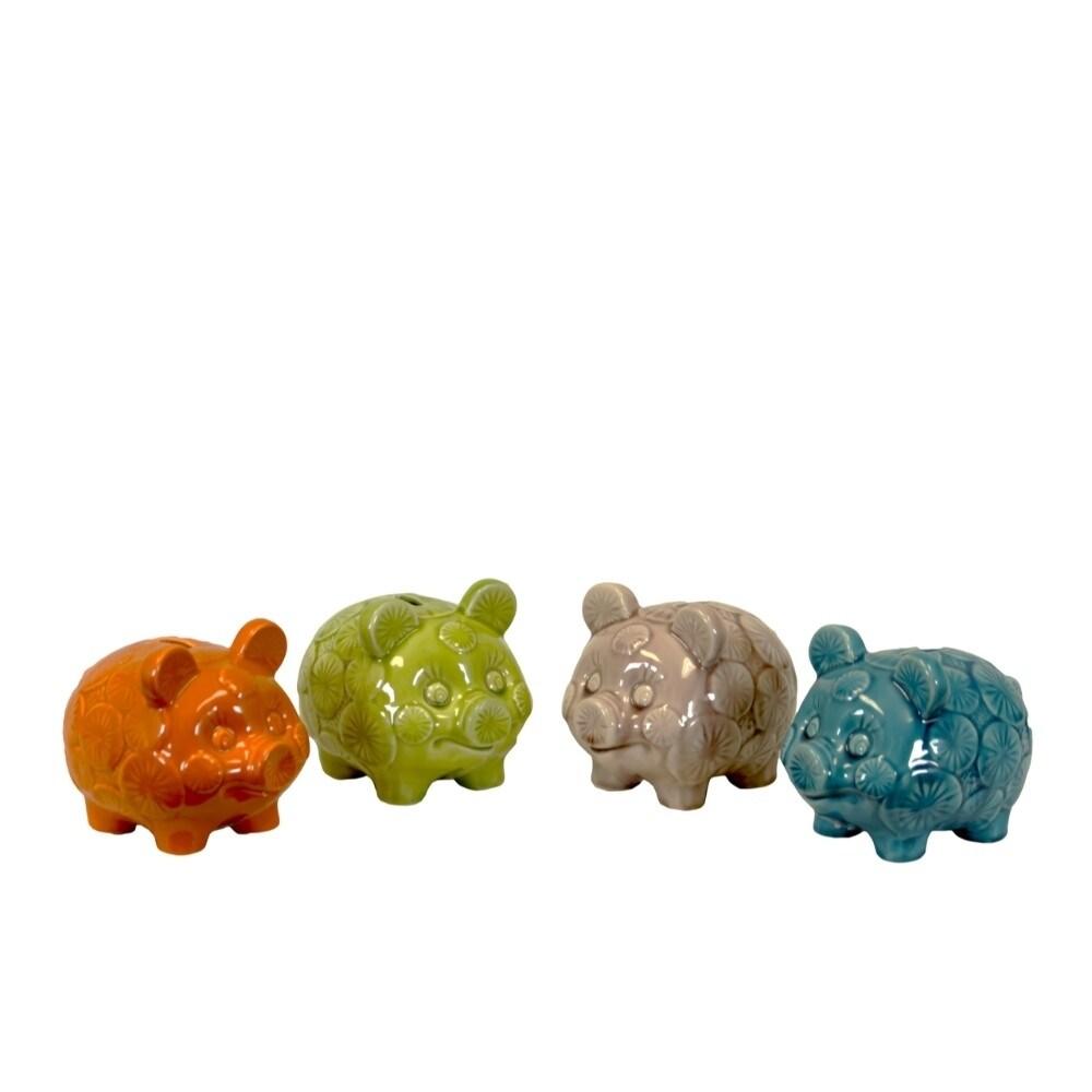 Benzara Standing Pig Figurine Piggy Bank Set of Four, Mul...
