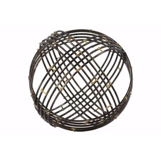 Metal Spherical Orb Decor with 10 Circles Large - Black