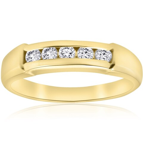 Bliss 14k Yellow Gold 1/2 ct TDW Five Stone Diamond Mens Wedding Ring - White