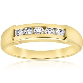 Bliss 14k Yellow Gold 1/2 ct TDW Five Stone Diamond Mens Wedding Ring - White (More options available)