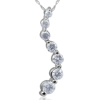 "Pompeii3 14k White Gold 1 ct TDW Diamond Journey Pendant & 18"" Chain"