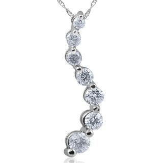 "Bliss 14k White Gold 1 ct TDW Diamond Journey Pendant & 18"" Chain"