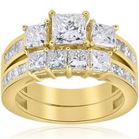 Bliss 14k Yellow Gold 3 1/2 ct TDW Princess Cut Clarity Enhanced Diamond Engagement Matching Wedding Ring Set - White