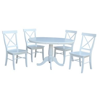 """International Concepts 36"""" Round Extension Dining table with 4 X-back Chairs - Set of 5"""
