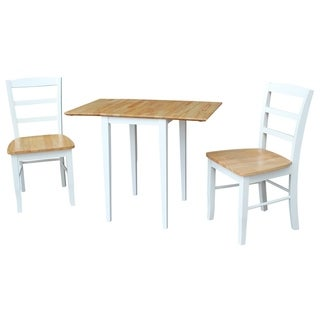 International Concepts Small Dual Drop Leaf Table with 2 Madrid Ladderback Chairs - Set of 3