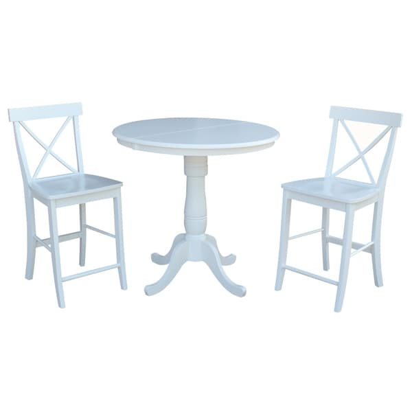 "Newcastle Counter Height Dining Table 2 Chairs 2 Stools: Shop International Concepts 36"" Round Extension Dining"