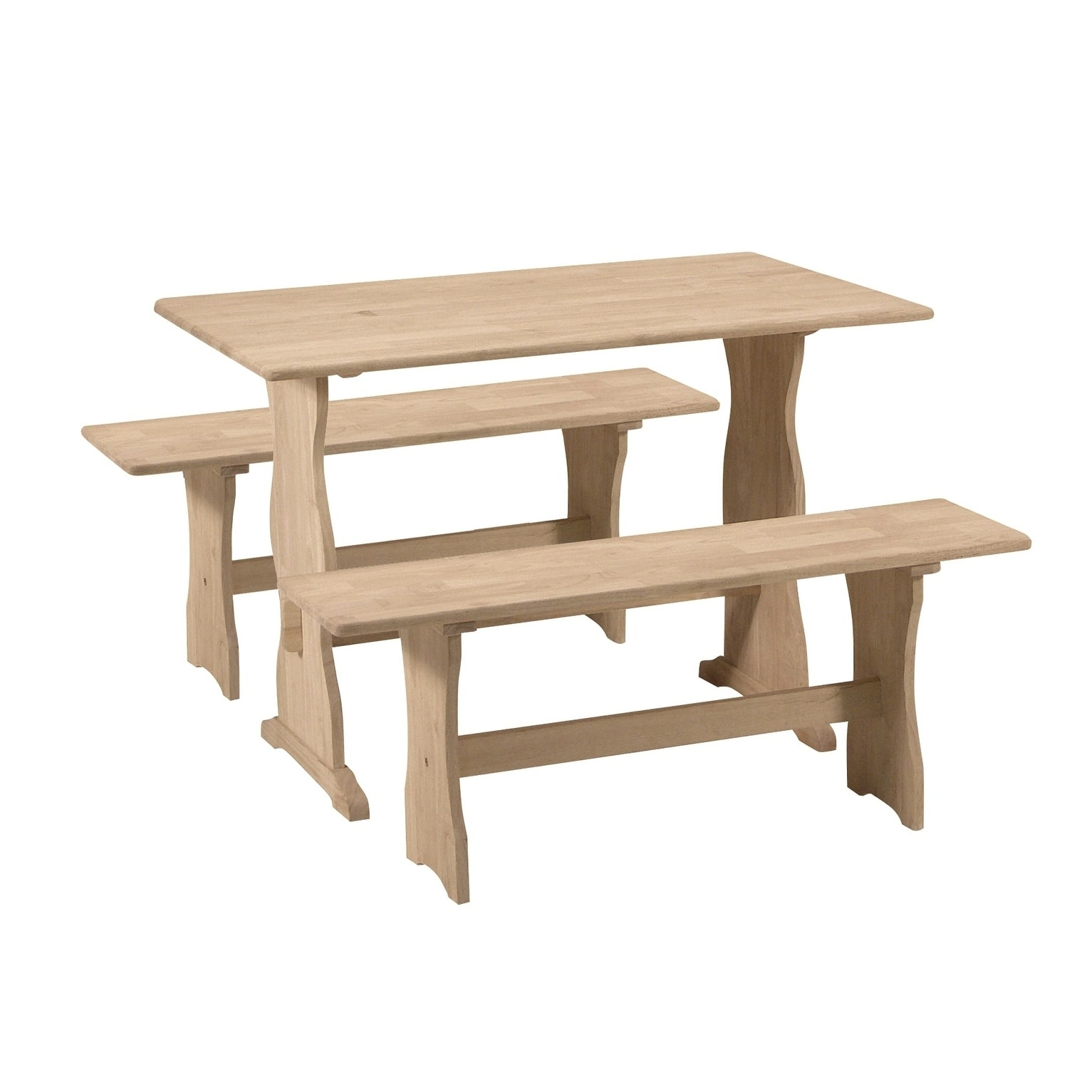 International Concepts Trestle Table with 2 Benches - Set...