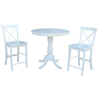 Overstock International Concepts 36 inch Round Pedestal Table with 2 X-back Counter Height Stools - Set of 3 (Painted/Antique/Almond Finish - White - 4)