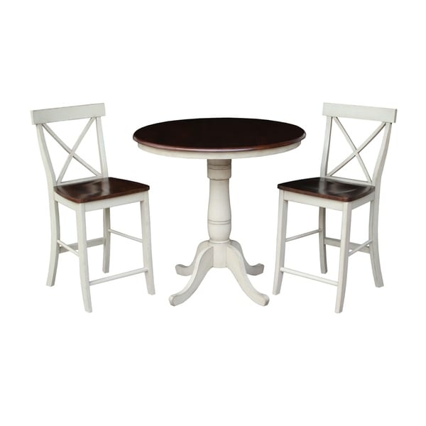 "International Concepts 36"" Round Pedestal Table with 2 X-back Counter Height Stools - Set of 3"