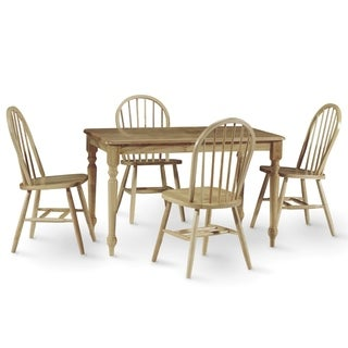International Concepts Wood Table with 4 Windsor Chairs - Set of 5
