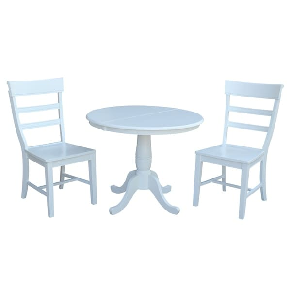 International Concepts White Wood 36 Inch Round Extension Dining Table With  2 Matching Hammerty Chairs