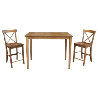 "International Concepts 30"" x 48"" Counter Height Dining Table with 2 X-back Counter Height Stools - Set of 5"