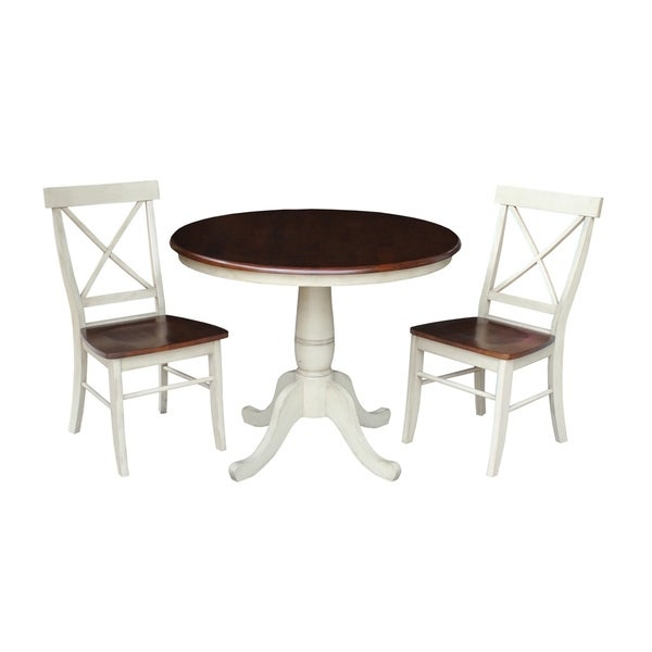 The Gray Barn Hickory Hill 36 Round Top Pedestal Table With 2 X Back Chairs Set Of 3 Free Shipping Today 21181454