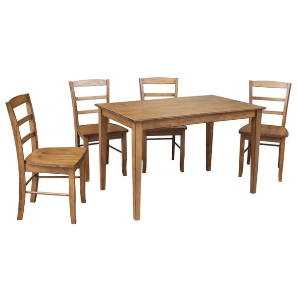 "international concepts 30"" x 48"" dining table with 4 madrid chairs"