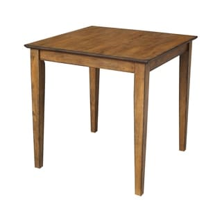 International Concepts Pecan Finish Solid Wood Square Table With Shaker Legs
