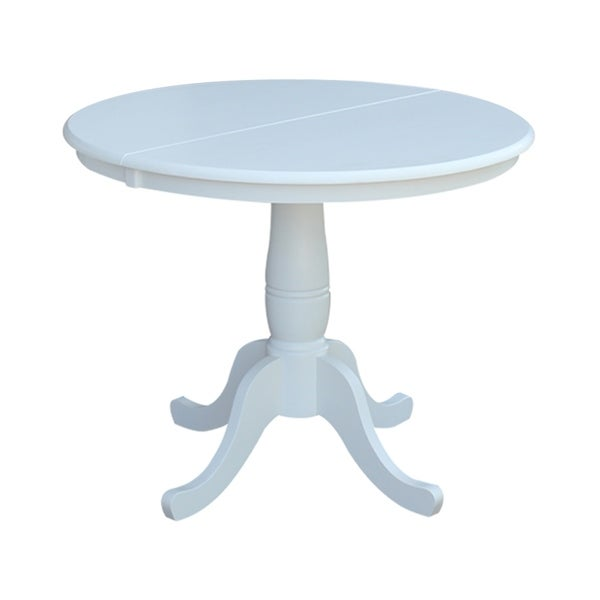 Havenside Home Knotts 36 Inch White Round Top Pedestal Table With 12 Inch  Leaf
