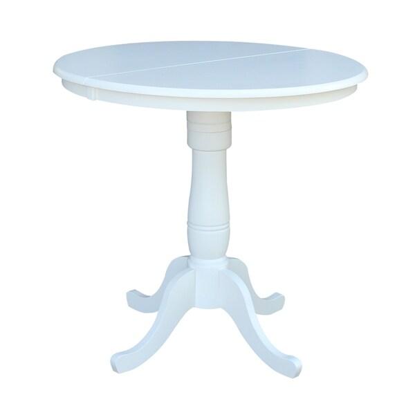 International Concepts White Wood Expandable Pedestal Table