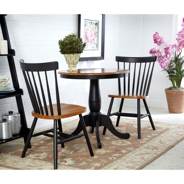 International Concepts Round Table With 2 Copenhagen Chairs   Set Of 3