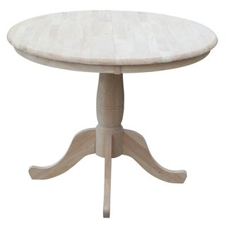 """International Concepts 36"""" Round Dining Extension Table  with 12"""" Leaf - Unfinished"""