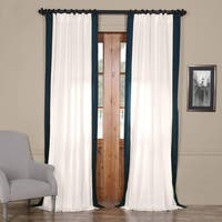 Exclusive Fabrics Vertical Colorblock Panama Curtain 108'L Fresh Popcorn and Polo Navy (As Is Item)