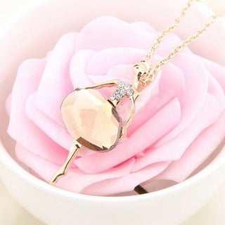 Orchid Jewelry Gold Plated Danching Girls Pendant - Pink