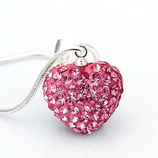 Orchid Jewelry Clay Pave Heart Shape Pendant with Chain