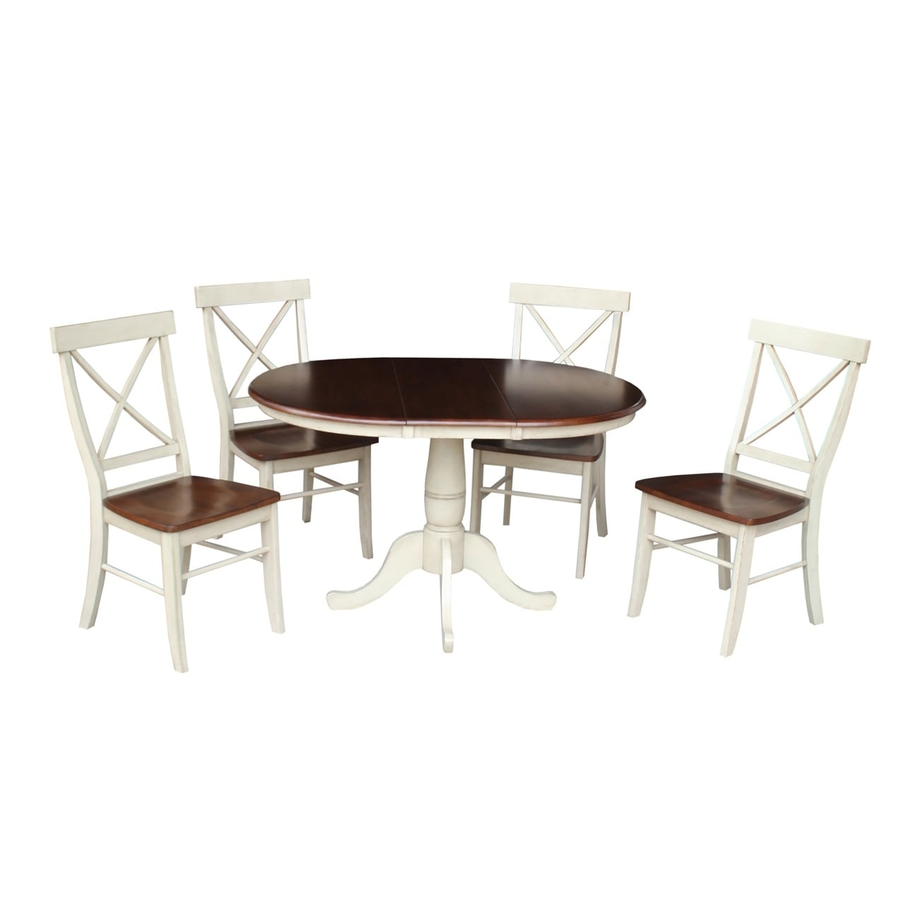 International Concepts Extension Dining Table with 4 X-ba...
