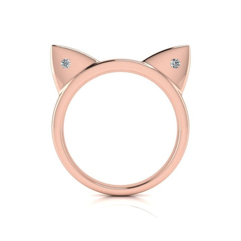 Diamond Accent Cat Ears Ring In Rose Gold Over Sterling Silver - White J-K