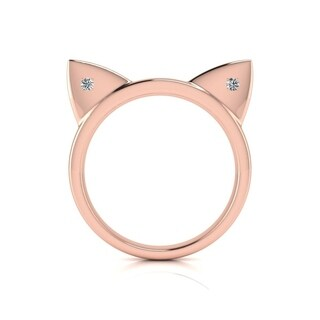 Diamond Accent Cat Ears Ring In Rose Gold Over Sterling Silver - White J-K (More options available)