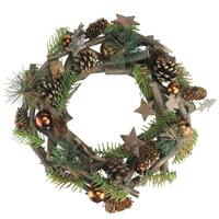 """12"""" Stars and Ornaments Twig Christmas Wreath"""