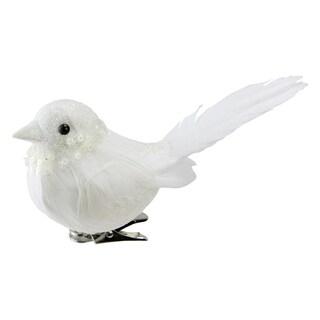 """5"""" Glitter Decorative White Bird Clip Ornament"""