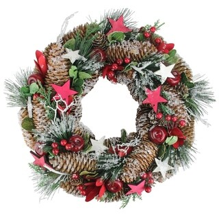 "13.25"" Pine Cones Frosted Christmas Wreath"