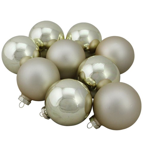 "Gold Glass Ball Christmas Ornament Set 2.5"""