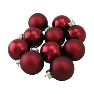 Burgundy Glass Ball Christmas Ornament Set 1.75""