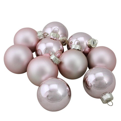 Baby Pink Glass Ball Christmas Ornament Set 1.75""