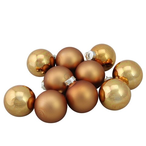 "Copper Glass Ball Christmas Ornament Set 1.75"""