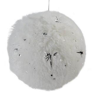 "4"" Faux Fur & Start Plush Christmas Ball Ornament"