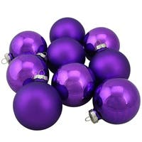 "Purple Glass Ball Christmas Ornament Set 2.5"""