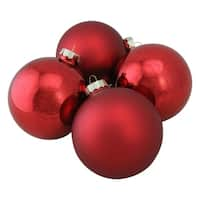 Red Glass Ball Christmas Ornament Set 4""