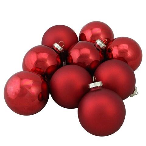 "Red Glass Ball Christmas Ornament Set 2.5"""
