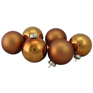 Copper Glass Ball Christmas Ornament Set 3.25""
